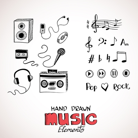 Sketch of music elements. Eps 8 vector illustration Vector