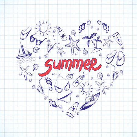 Set of summer icons in Heart shape Vector