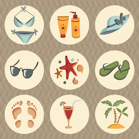 starfish on beach: Set of summer icons