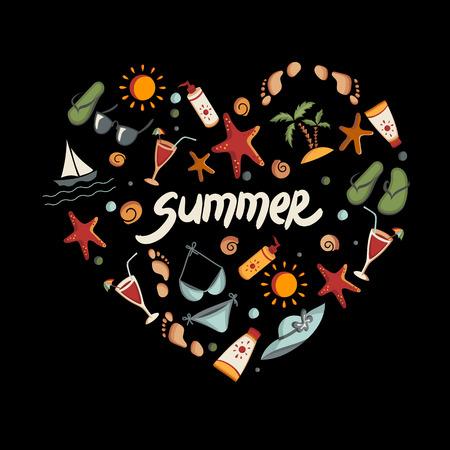 Set of summer icons  Heart shape  Eps 8 vector illustration Vector