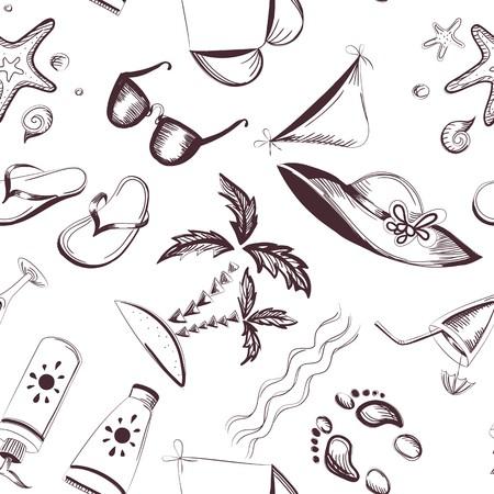 footprint sand: Seamless summer background  Eps 8 vector illustration Illustration