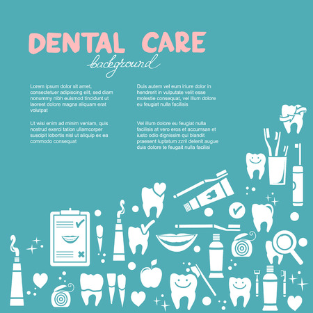 Dental care background with symbols  Vector illustration