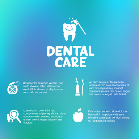 Dental care simple infographics  Dental floss, tooth brush, tooth paste Vector