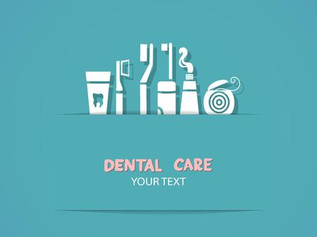 Achtergrond met tandheelkundige zorg symbolen Tandenborstel, tandpasta, flosdraad