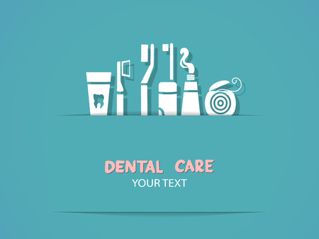floss: Background with dental care symbols  Tooth brush, tooth paste, dental floss Illustration