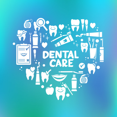 Dental care symbols in the shape of heart  Vector illustration Иллюстрация