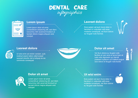 blue tooth: Dental care simple infographics  Dental floss, tooth brush, tooth paste