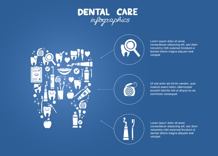 dental floss: Dental care simple infographics   Dental care objects in the shape of tooth symbol