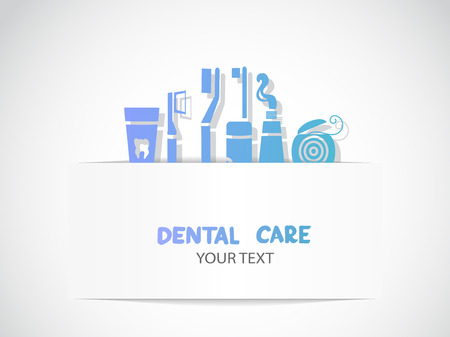Background with dental care symbols  Tooth brush, tooth paste, dental floss Illustration