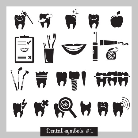 braces: Set of dentistry symbols, part 1  Dental tools etc  Illustration
