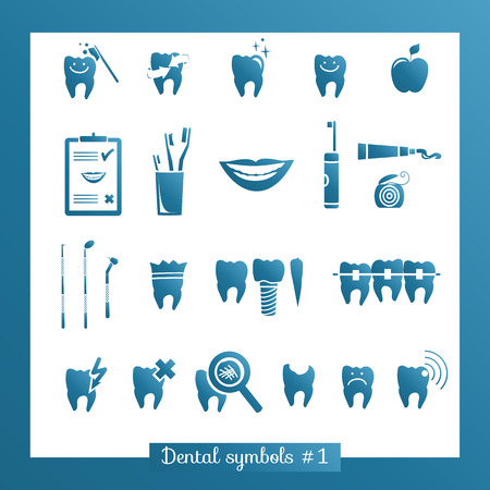 Set of dentistry symbols, part 1  Dental tools etc  Illusztráció