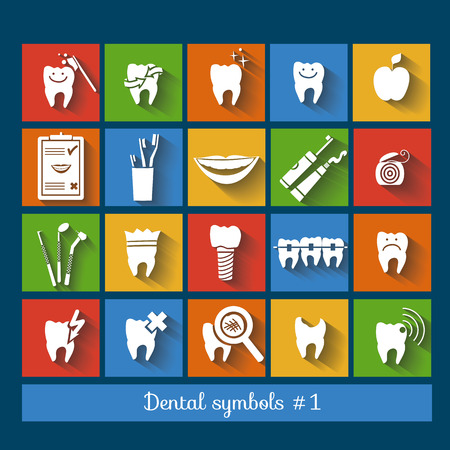 Set of dentistry symbols, part 1  Flat design   Illustration