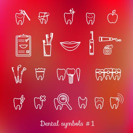 cavity braces: Set of dentistry symbols, part 1  Dental tools etc  Illustration