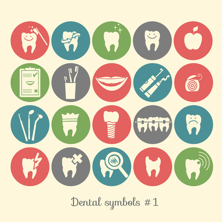 tooth icon: Set of dentistry symbols, part 1  Dental tools etc  Illustration