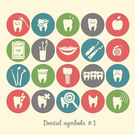 Set van de tandheelkunde symbolen, deel 1 Dental instrumenten etc Stock Illustratie