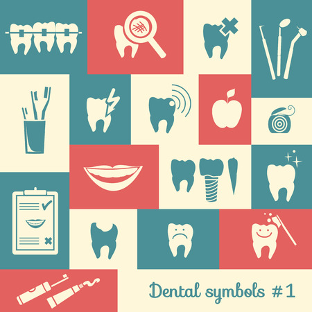 Set of dentistry symbols, part 1 Dental tools etc