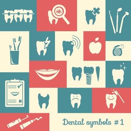 holten: Set van tandheelkunde symbolen, deel 1 Dental gereedschappen etc Stock Illustratie