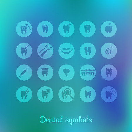 dental caries: Set of dentistry symbols  Eps 10 vector  Illustration
