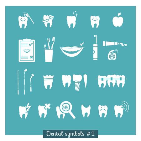 Set of dentistry symbols, part 1  Dental tools etc  Vector