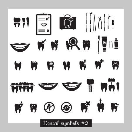 cavity braces: Set of dentistry symbols, part 2  Dental tools etc