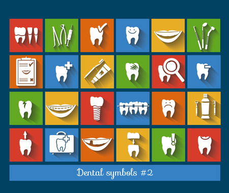 Set of dentistry symbols, part 2 Dental tools etc