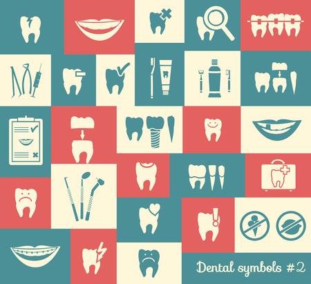 dental braces: Conjunto de s�mbolos de odontolog�a, parte 2 Herramientas dentales etc Vectores