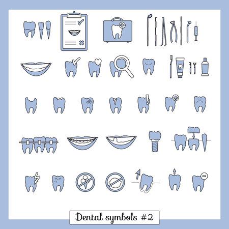 dental mirror: Set of dentistry symbols, part 2  Dental tools etc
