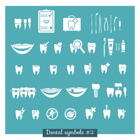Set of dentistry symbols, part 2  Dental tools etc  Vector