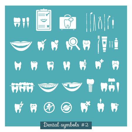 stomatology icon: Set of dentistry symbols, part 2  Dental tools etc