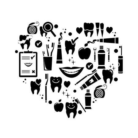 Dental care symbols in the shape of heart  Vector illustration Vector