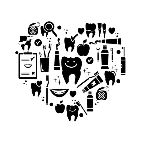 Dental care symbols in the shape of heart  Vector illustration Vector