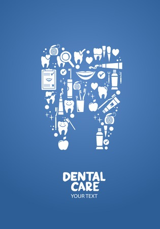 dental floss: Dental care design concept   Dental care objects in the shape of tooth symbol