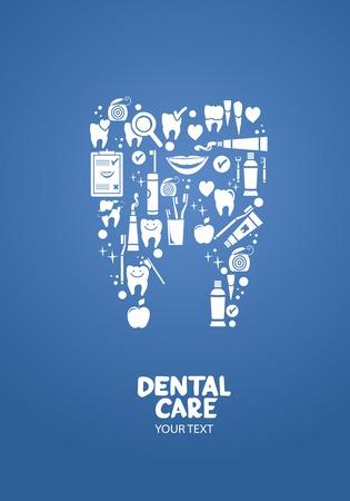Tandheelkundige zorg concept Tandheelkundige zorg objecten in de vorm van tand symbool