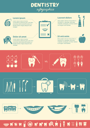 Dentistry infographics  Dentistry and dental care symbols also included  Vector