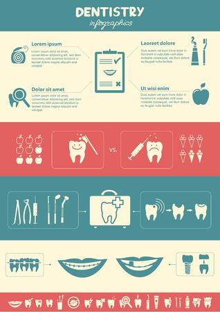 dental braces: Infograf�a Odontolog�a Odontolog�a y s�mbolos de cuidado dental tambi�n incluyeron