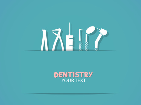 Background with dentistry tools symbols   Vector eps10