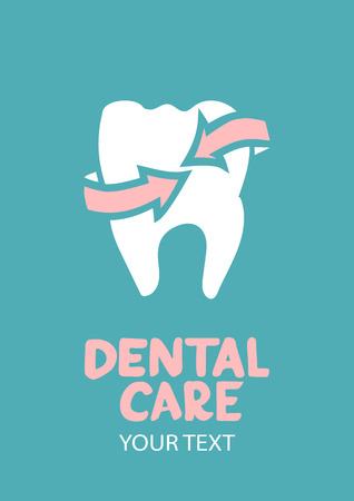 stomatology icon: Dental care design concept  Tooth with arrow as a symbol of protection Illustration