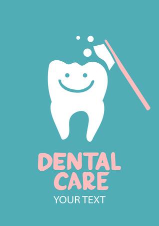 Tandheelkundige zorg concept Tooth symbool met tandenborstel