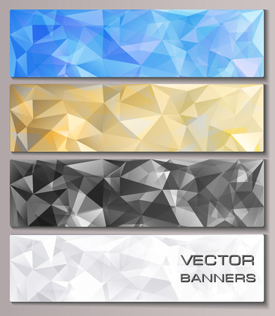 holographic: Set of banners with geometric pattern  Triangles polygonal background  Eps10 vector illustration