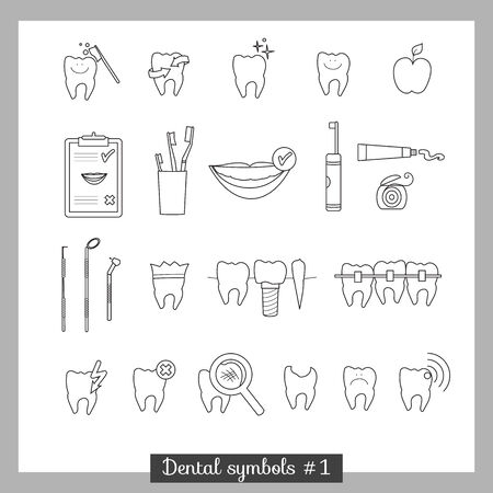 Set of dentistry symbols, part 1  Dental tools etc  Vector
