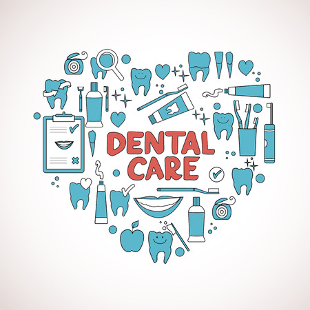 stomatology icon: Dental care symbols in the shape of heart  Vector illustration Illustration