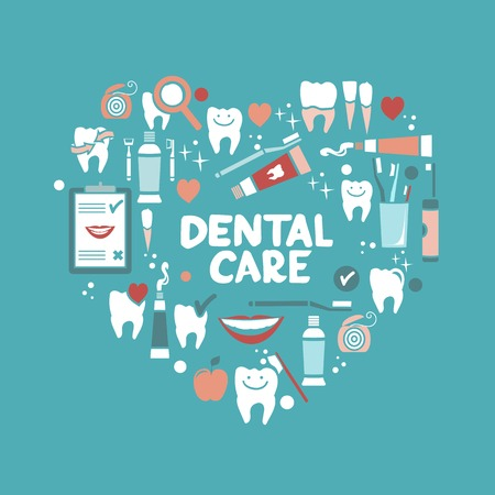 dental health: Dental care symbols in the shape of heart