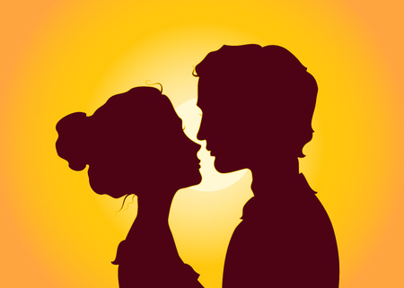 hot day: Sunset silhouettes of kissing couple