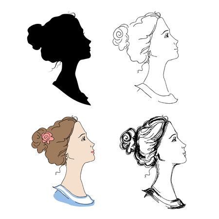fila di persone: Testa Donna profili silhouette, schizzo, illustrazione colorata