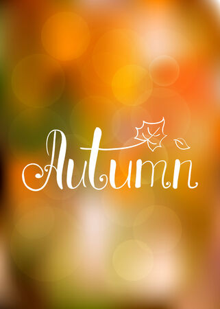 Abstract autumn background with hand drawn lettering vector illustration