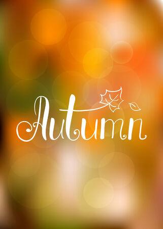 Abstrakte Herbst Hintergrund mit Hand gezeichneten Schriftzug Vektor-Illustration