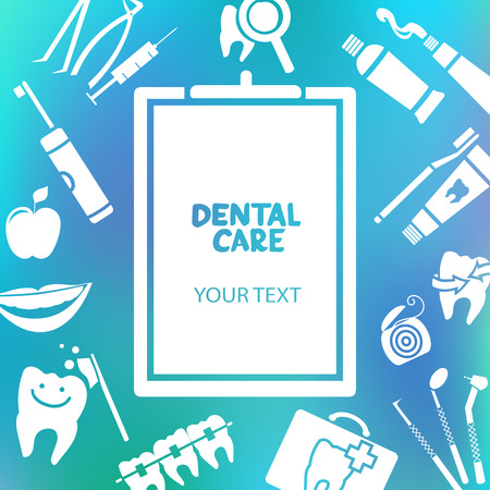Medical clipboard with dental care text. Dental care design concept. Dental floss, teeth, mouth, tooth paste etc.