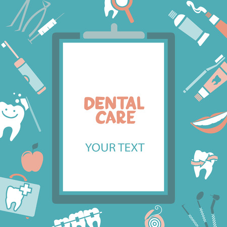 dental treatment: Medical clipboard with dental care text. Dental care design concept. Dental floss, teeth, mouth, tooth paste etc.