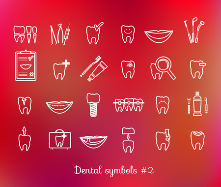 Set of dentistry symbols. Dental tools, floss, braces, teeth, mouth, implant, crown, toothache, hygiene, tooth decay etc. Vector