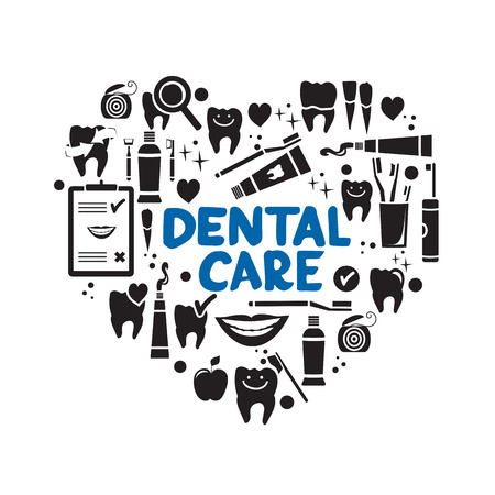 Dental care symbols in the shape of heart. Dental floss, teeth, mouth, tooth paste etc. Vettoriali